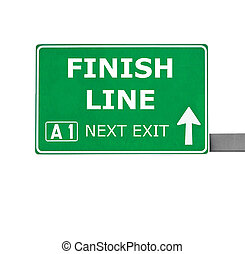 FINISH LINE road sign isolated on white