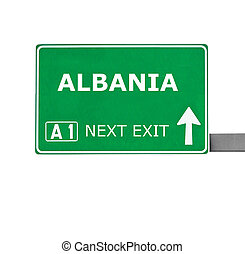 ALBANIA road sign isolated on white