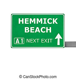 HEMMICK BEACH road sign isolated on white
