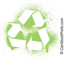 Vector illustration of an ink splatter recycle symbol design...