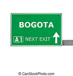 BOGOTA road sign isolated on white