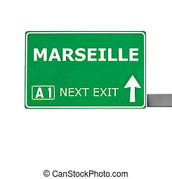 MARSEILLE road sign isolated on white
