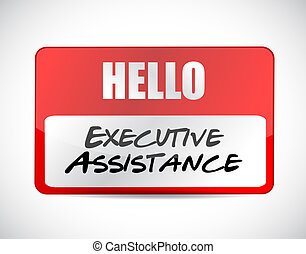 executive assistance name tag sign concept illustration...