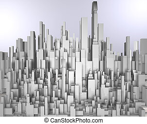 skyscrape - frontal 3d image of white skyscraper