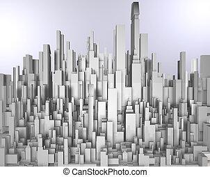 skyscrape - frontal 3d image of white skyscraper