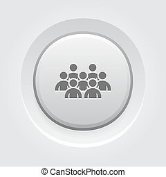 Standing Out Icon. Business Concept. Grey Button Design