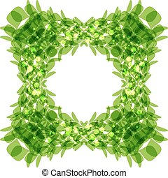 Green leaves frame, square shape, vector illustration