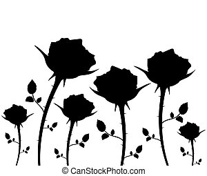silhouettes of flowers roses on a white background