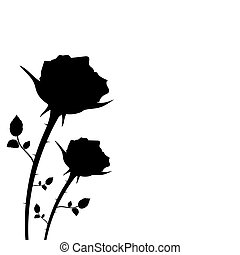 silhouette of two roses on a white background