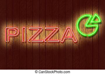Neon PIZZA sign - Illustration of a neon PIZZA sign against...