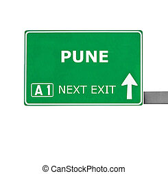 PUNE road sign isolated on white