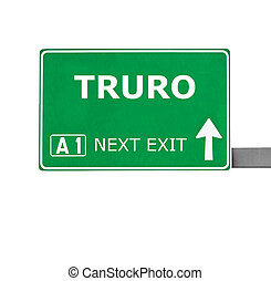 TRURO road sign isolated on white
