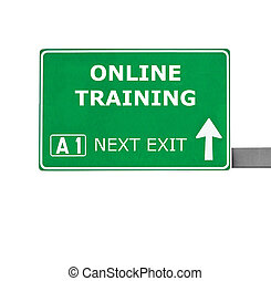 ONLINE TRAINING road sign isolated on white