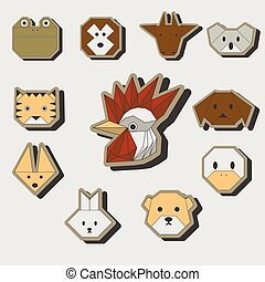 Cute origami animals stickers icon set
