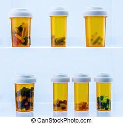 medicin, recept, insida, flera, Flaskor