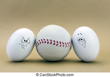 two eggs look missed at a baseball ball