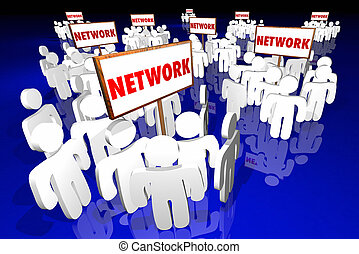 Network Social Communities Groups People Signs Word 3d