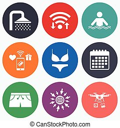 Swimming pool icons. Shower and swimwear signs. - Wifi,...