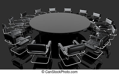 black hall 2 - black hall with round negotiating table and...