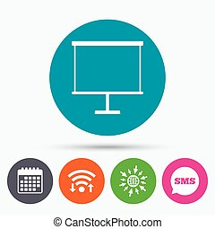 Presentation billboard sign icon. PPT symbol. - Wifi, Sms...