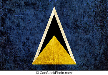 Grungy paper flag of St Lucia