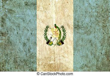 Grungy, papel, bandera, de, guatemala,