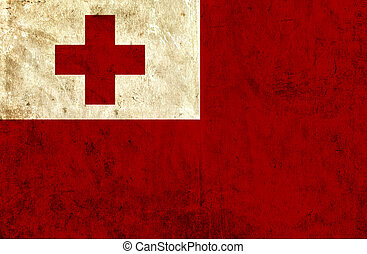 Grungy paper flag of Tonga