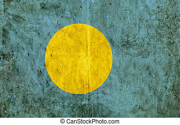 Grungy paper flag of Palau