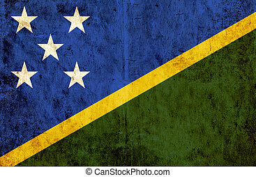 Grungy paper flag of Solomon Islands