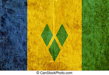 Grungy paper flag of Saint Vincent and Grenadines