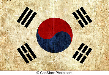 Grungy paper flag of South Korea
