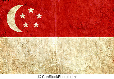 Grungy paper flag of Singapore