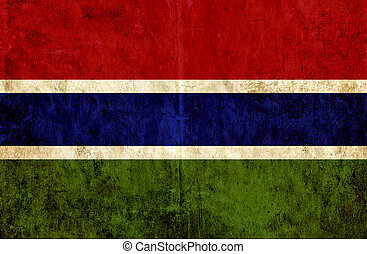 Grungy paper flag of Gambia