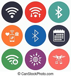 Wifi and Bluetooth icon Wireless mobile network - Wifi,...