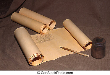early manuscripts - Ancient parchment scroll with Greek...