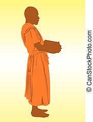 Monk - A monk with his alms bowl