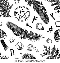 Hand drawn illustration Wicca - Witchcraft seamless pattern....