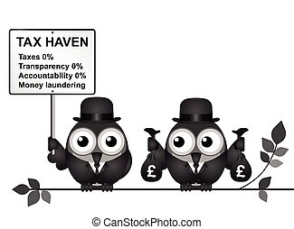 Tax Haven - Bird businessman holding bags of money deposited...