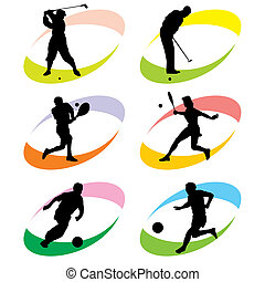 sport icons - set of vector silhouette icons of sports games...