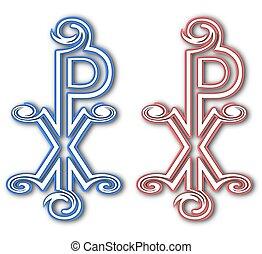Christian Chi Rho symbol (for Christ). Labarum. Christogram....