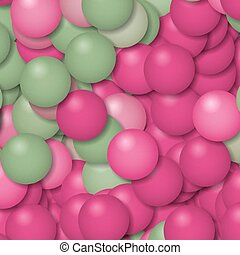 Abstract balls background. Digital painting in pink and grey...
