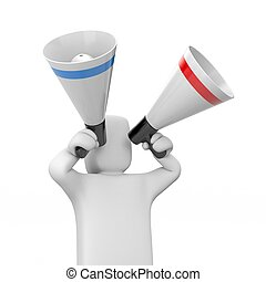 Man speaks in megaphones - Communication concept Isolated on...