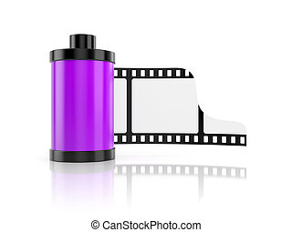 Film roll isolated on white with reflection - Film roll....