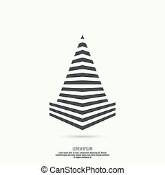 Pyramid of the strips. - Geometric figure. Pyramid of the...