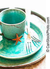 Marine table setting - Summer table setting on marine theme....