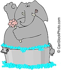 Elephant In A Washtub - This illustration depicts an...