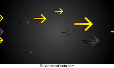 Yellow and black arrows tech video animation