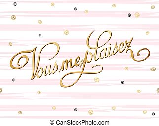 Pretty Love French card template. Gold curl decor on striped watercolor background. Vector illustration.