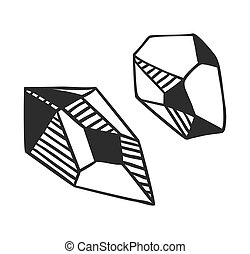 Hand Drawn crystals - Black and White doodle illustration...