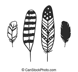 Hand Drawn set of boho feathers - Black and White doodle...